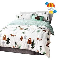 BuLuTu Siberia Forest Theme Boys Duvet Cover Queen Cotton Da