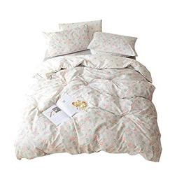 VM VOUGEMARKET Floral Duvet Cover Set Queen,100% Cotton Ligh