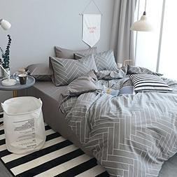 HIGHBUY Super Soft 3 Piece King Duvet Cover Set Grey 100% Na