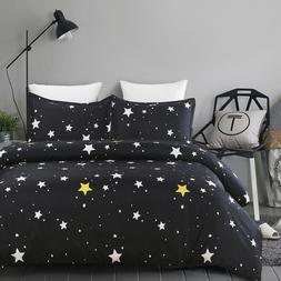 Soft Microfiber Duvet Cover Set, Printed Starry Sky Pattern,