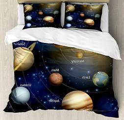 Space Duvet Cover Set with Pillow Shams Solar System Planets
