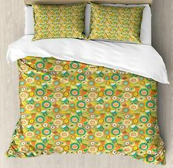 Spring Season Duvet Cover Set Twin Queen King Sizes with Pil