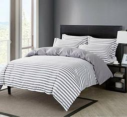 Striped Duvet Cover Set Reversible Bedding Set with Zipper C