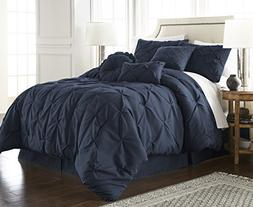 Sydney 7-piece Pintuck Duvet Cover Set w/ Corner Ties