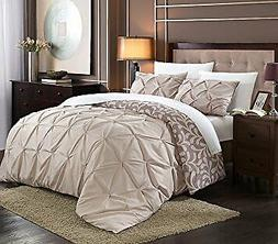 Chic Home 3 Piece Talia Pleated Pin Tuck Reversible Duvet Se