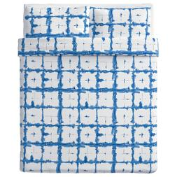 Ikea TANKVARD Queen Duvet cover and pillowcase, check patter