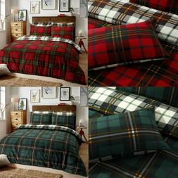 Tartan Check Flannel 100% Cotton Duvet Cover Quilt Cover Rev