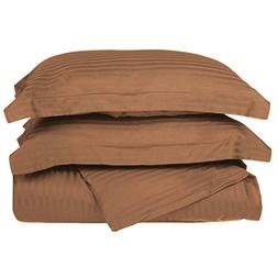 TN 2 Piece Taupe Rugby Stripes Duvet Cover Twin Set, Stylish