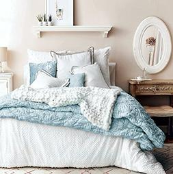 Textured Quilted Soft Washed Cotton Artisan Bedding Set Stit