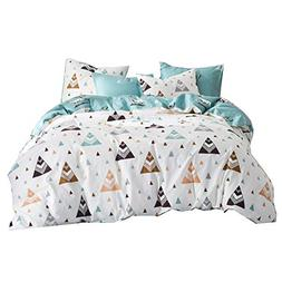 Uozzi Bedding Triangle & Deer Pattern Cotton White Duvet Cov