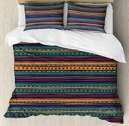 Ambesonne Tribal Duvet Cover Set, Striped Retro Aztec Patter