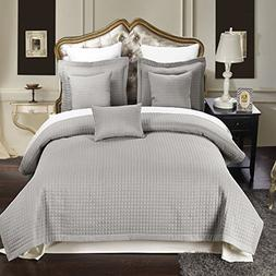 Twin / Twin Extra Long size Gray Coverlet 2pc set, Luxury Ch