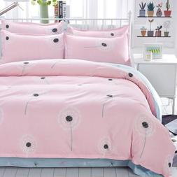 Uozzi Bedding Twin Kids Duvet Cover Set Pink Floral 3 Pieces