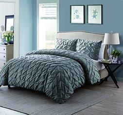 Twin XL Size Removable Duvet Cover Set in Charcoal Grey Supr