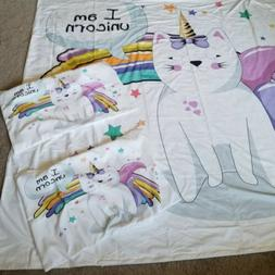 Unicorn Cat Duvet Cover Set Queen with 2 Pillow Shams Ambeso