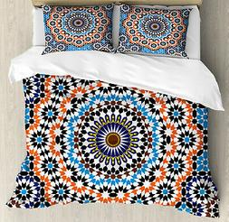 Vintage Duvet Cover Set with Pillow Shams Moroccan Ceramic T