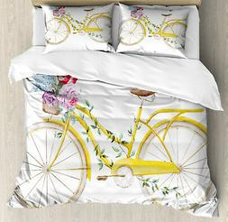 Vintage Duvet Cover Set with Pillow Shams Bicycle with Flowe