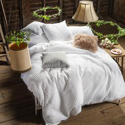 Merryfeel Waffle Weave Duvet Cover Set 100% Cotton White bed