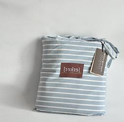 Eikei Washed Cotton Chambray Duvet Quilt Cover Stripe to Sol