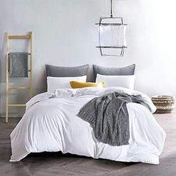 ATsense Duvet Cover Queen, 100% Washed Cotton, Bedding Duvet