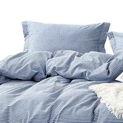 Wake In Cloud - Washed Cotton Duvet Cover Set, White Striped