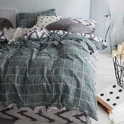 Uozzi Bedding 100% Natural Washed Cotton 3 Piece Duvet Cover
