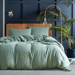 YEVEM Washed Cotton Full Queen 3 Piece Solid Green Duvet Cov