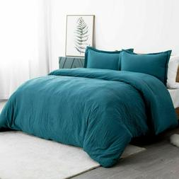 Bedsure Washed Duvet Cover Set King Size with Zipper Closure