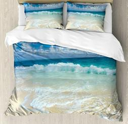 Wave Queen Size Duvet Cover Set by Ambesonne, Beach with Foa