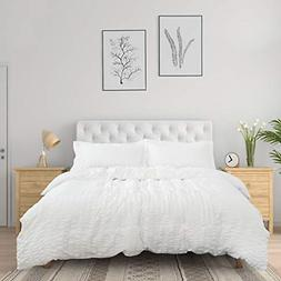 Bedsure White Duvet Cover Queen Size 90 x 90 inches - Seersu