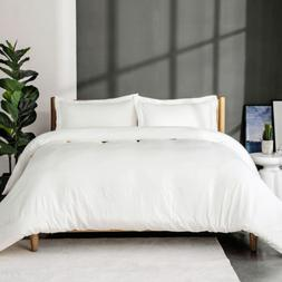 Bedsure White Washed Duvet Cover Set Full/Queen Size with Zi