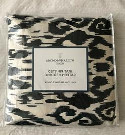 Williams Sonoma Home Printed Ikat Sateen Duvet Cover, Black,