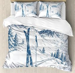 Winter Decorations Duvet Cover Set by Ambesonne -- King