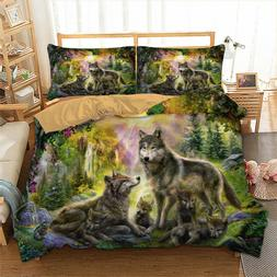 Wolf Family Bedding Set Animal Happiness Duvet Cover Pillow
