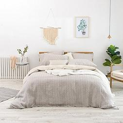 Merryfeel 100% Yarn Dyed Check Linen Duvet Cover Set,Pure Fr