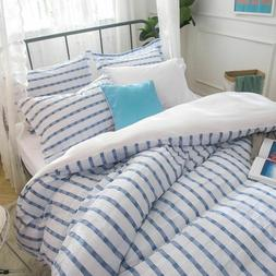 Merryfeel yarn dyed seersucker duvet cover pillowcase set 10