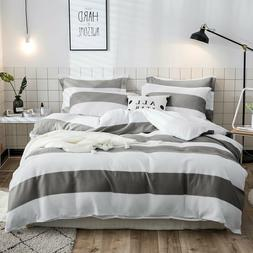 Cotton Duvet Cover Set,Waffle woven stripe bedding set white