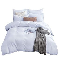 Merryfeel Duvet Cover Set, Sand Washed Cotton Waffle Weave D