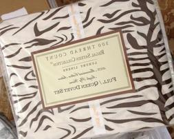 Regal Zebra Stripe Duvet Cover Set Queen Brown White Reversi